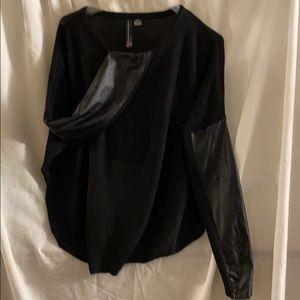 Leather like sleeve light sweater